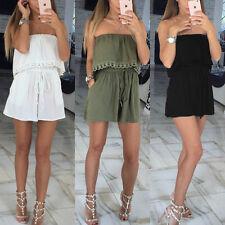 Damen Jumpsuits Overall Shorts Bandeau schulterfrei Anzug Einteiler Kurz Kleid