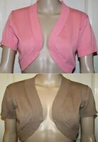 PINK OR BROWN COTTON SUMMER CARDIGAN SHRUG BOLERO JACKET SIZES 10 12 14 16 18