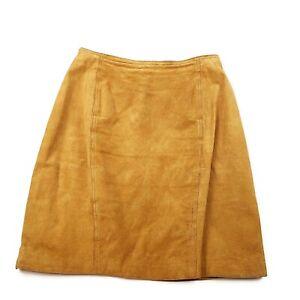 Vtg Brandon Thomas Womens 1980s Tan Brown 100% Leather Pencil Skirt Sz 12