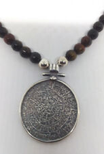 Sterling Silver Statement brown Agate Stone beaded Phaistos  Necklace