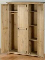 Panama Contemporary 3 Door Wardrobe - Natural Wax Solid Pine - Bedroom Wooden