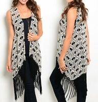 Black/Ivory Geo Retro Fringe Trim Chiffon Tunic Cover Sleeveless Vest Top