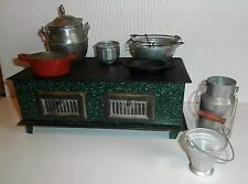 FREE  SHIPPING  / FRENCH Antic Doll Display TIN  FOOTED STOVE /PANS /ACCESS.