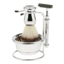 Mens Beard Shaving Wet Grooming Set Brush Safety Razor Bowl Stand Holder