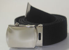 "NEW BLACK BELT 26"" 27"" 28"" 29"" In. WAIST CANVAS MILITARY WEB CHROME SLIDE BUCKLE"