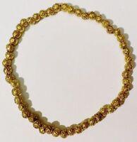 bracelet bijou vintage couleur or perle pleine gravé en relief  472