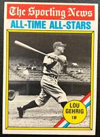 LOU GEHRIG 1976 TOPPS ALL-TIME ALL-STARS VINTAGE BASEBALL CARD #341