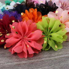 120P Ballerina Fabric  Chiffon Flower Ornaments With Gold Dot For Baby Headband
