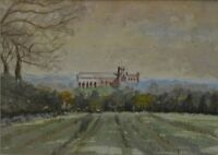 20th Century Watercolour St Albans Cathedral View by Peter Branchflower