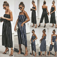 Women Sleeveless Striped Wide Leg Pant Playsuit Jumpsuit Casual Clubwear Outfit