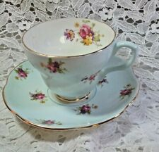 VTG English Foley Bone China Cup/Saucer Robin Egg Blue and Flowers