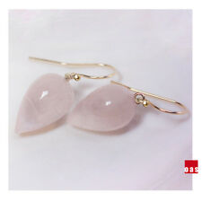 PURE SOLID GOLD 18K 14K YELLOW GOLD ROSE QUARTZ ACORN EARRINGS HOOK or LEVERBACK