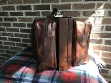 VINTAGE 1980s HARDSIDE LEATHER MACBOOK BRIEFCASE w/ SADDLE BAGS DUFFLE BAG $2798