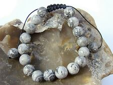 Natural Gemstone Men's Shamballa bracelet all 10mm MAP STONE beads