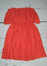 Max and Cleo Jennifer Strapless Pleated Ruffle Dress Papaya Orange XS