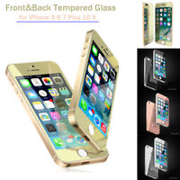 For iPhone 5 6 7 Plus X Color Tempered Glass Front&Back Mirror Screen Protector