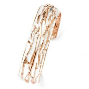 18mm Rose Gold Tone Plated Sterling Silver Domed Crinkle Cuff Bracelet