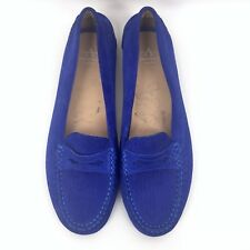 327711e1369 Women Aquatalia Size 8.5 Sawyer Suede Slip On Penny Loafers Driving Shoes  Blue