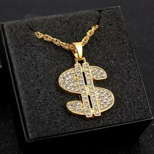 1Pc Gold Plated Men Rhinestone Dollar Sign Pendant Chain Necklace Ornament Gift