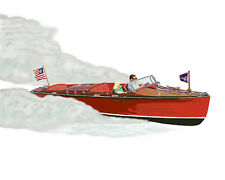 Chris Craft Runabout canvas art print by Richard Browne Chris-Craft powerboat