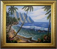 Framed Quality Hand Painted Oil Painting Pacific island Coast Scene 20x24in