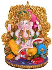 "Ganesha Statue 7"" Ganesh on a Golden Throne writing the Mahabharat (YX119)"