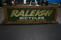 Vintage Large Raleigh Bicycle Sign Light Up 41x14x4. Wood border.