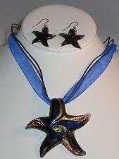 Handmade Goldsand Lampwork Glass Starfish Necklace & Earring Set
