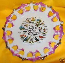 "Canada Plate Songbirds Flower Emblems Japan 7"" Across"