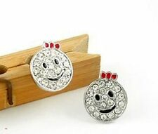 Cute red bow silver crystal smiley face stud earrings
