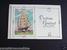 #E559- Vintage Unused 1940's Xmas Greeting Card Fancy Sailboat Rope Border
