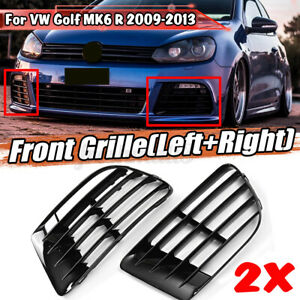 For VW Golf MK6 R 2009-2013 ABS Black Front Fog Lights Side Grill Cap Cover L+R