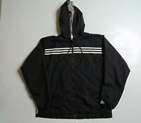 VTG 90s Adidas Men L Windbreaker Rain Jacket Lined Black Striped Athletic Zip