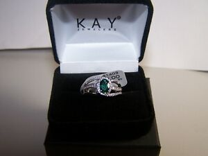 NEW KAY JEWELERS 1 CARAT EMERALD SAPPHIRE W/ACCENTS HALO STERLING RING SZ 7