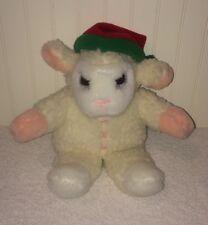 "Lamb Chop Avon Hand Puppet Plush 11"" Red Green Hat Shari Lewis Sheep Stuffed Toy"