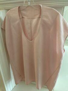 Lululemon Women's Shirt Top  Sz 8 Or 10 Pink Oversized Hi Low Hem Boxy V Neck