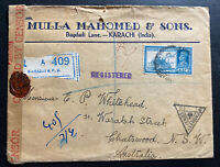 1941 Karachi India Commercial Censored Cover To Chatswood Australia Wax Seal