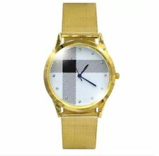DOOKA Sophisticated Unisex Analog Stainless Steel Wrist Watch (Gold/White)