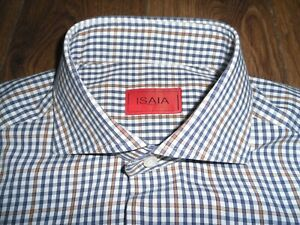 """ISAIA NAPOLI WHITE, BLUE & BROWN CHECK COTTON SHIRT HAND-MADE SIZE 15 1/2""""-39cm"""