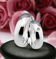 Klassische Ringe Trauringe , Eheringe mit Diamant  , Silber 925 , J11-1