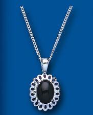 Onix Colgante Natural Ónice Negro Collar Ovalado Solitario Plata Maciza De Ley