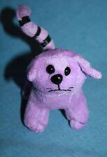 "Oriental Trading Purple Plush HALLOWEEN CAT 4"" Soft Toy Stuffed Striped Tail"