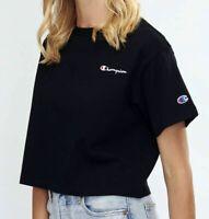 Champion USA Womens Cropped Tee T-Shirt Black CVNCN Cotton L Large