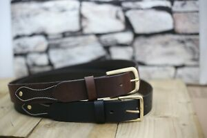 """Leather Mens Belt Genuine Cowhide  Changeable 1.5""""Leather Brass buckle . UK"""