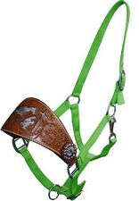 LIME GREEN Nylon Bronc Halter w/ Cowhide Praying Cowboy & Tooled Noseband!! NEW!