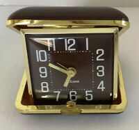 Vintage,  Bulova Travel Alarm Pocket Wind Up Clock - Brown