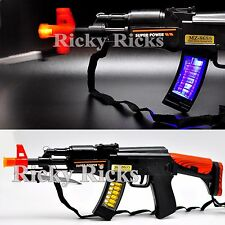 Light Up Machine Gun Military Toy Rifle Kids Moving Barrel LED Tommy Pistol