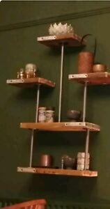 Rustic Industrial Pipe Shelving Wall Unit Reclaimed Scaffold Board Steampunk