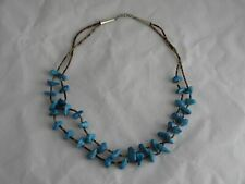 "24"" Necklace with Sterling Ends Southwest Turquoise & Shell Heishi Double"