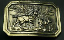 Vintage Deer and Doe Brass Belt Buckle Buck Great American Buckle Co 1976